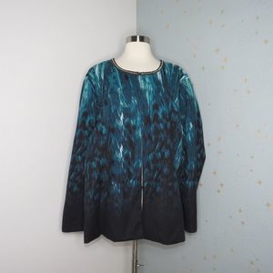 Catherines   Teal Abstract Print Jacket